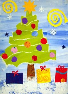 Paper Christmas Tree! Paint background. Paper strips for trees (biggest to smallest). Cut shapes for star and presents
