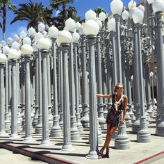 "LACMA Lights, LACMA: Wilshire + S. Fairfax - Whether you're a tourist or a resident, planning a stop at LACMA's famous ""Urban Light"" installation is a must. In case you were wondering, it looks just as beautiful at night.Photo: @majamalnar"