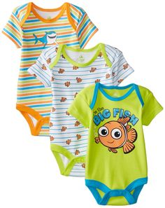 Disney Baby Boys'  Nemo 3 Pack Bodysuit, Multi, 6 Months
