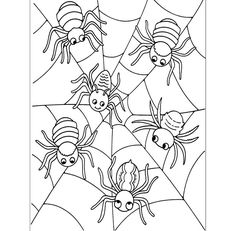 Halloween Coloring Pictures, Halloween Coloring Sheets, Halloween Pictures, Halloween Painting, Theme Halloween, Halloween Kids, Halloween Crafts, Spider Coloring Page, Pumpkin Coloring Pages