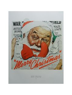 The Game And Merry Christmas, Old Couple Play Checkers, Santa Breaks Through Newspaper, Norman Rockwell Poster, Post Magazine Cover. $10.00, via Etsy.