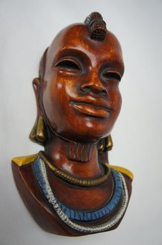 Items similar to German Achatit Tribal Masai Carved Wooden Wall Mask on Etsy Cologne Germany, Ceramic Materials, Wooden Walls, Hand Carved, Porcelain, African, Carving, Statue, Ceramics