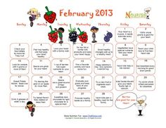 fun healthy colorful february calendar that promotes fitness and healthy habits to children no holiday themes