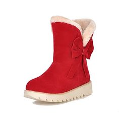 Red VogueZone009 Womens Closed Round Toe Kitten Heel Imitated Suede Artificial Plush Solid Boots with Metal 9.5 B US M