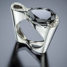 Sempre Ring with Black Diamond | Adam Neeley Fine Art Jewelry