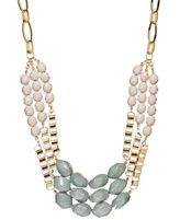 Bar III Gold-Tone Ivory and Mint Stone Frontal Necklace