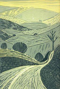ann burnham - road to the hills - mono print