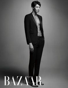 Kim Young Kwang Reveals His Six-Pack Abs in Harper's Bazaar