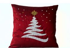 Handcrafted Red Decorative Throw Pillow Cover with Christmas Tree, Star and Snow Embroidered in Beads, Sequins and Crystals Rhinestones - Holiday Home Decor - Toss Pillow Covers in Red Art Silk Dupioni - Accent Pillows - Pillowcases - Gifts for Christmas, Red Throw Pillows, Gold Pillows, Accent Pillows, Christmas Cushions, Christmas Pillow Covers, Christmas Colour Schemes, Silk Pillow, Sequin Pillow, Decorative Pillow Covers