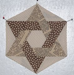 """Lily's Quilts: Hexalong - in between the lines JG: I haven't   done """"English Paper Piecing"""" before, and would almost be tempted to do this by hand. Alas, my dream that it would be one of those magically easier than  I could imagine quilts is... naught."""