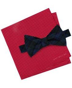 Tommy Hilfiger Men's Blackwatch Pre-Tied Silk Bow Tie & Dot Print Silk Pocket Square Set - Red