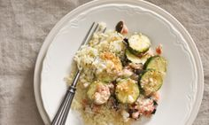 Zucchini Feta Cheese Bake-Serve this Mediterranean dish over steaming orzo pasta.