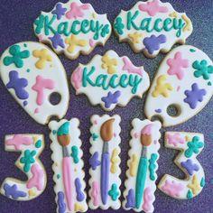 Artist Painter Birthday Party Sugar Cookies TheIcedSugarCookie.com Aujanes Sweets Cake Supplies LLC