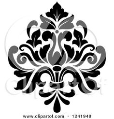 Clipart of a Black and White Arabesque Damask Design 19 - Royalty Free Vector Illustration by Seamartini Graphics