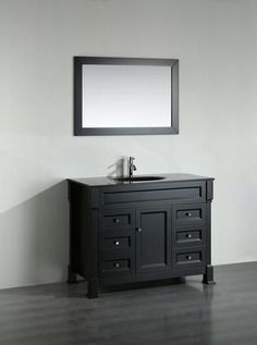 """Bosconi 43"""" SB-278BBG Single Vanity with 1 Door 6 Drawers 1 Glass Sink Included Wall Mounted Mirror Antique Bronze Hardware and Birch Solid Wood Frame in Black Color"""