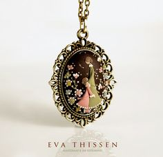 Mother. Beautiful handmade hand appliqued polymer clay pendant. Made to order. $52.00, via Etsy.