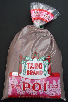 Poi ~ Bags of poi available at Hawaii grocery stores. Just add half to one cup water and mix at home to taste. Best eaten with lomi salmon and kalua pig. #Hawaii #Foods