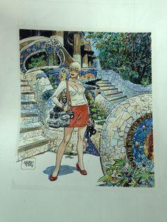 Taxi splash page, by Alfonso Font (Barcelona's parque Güell) Comic Art