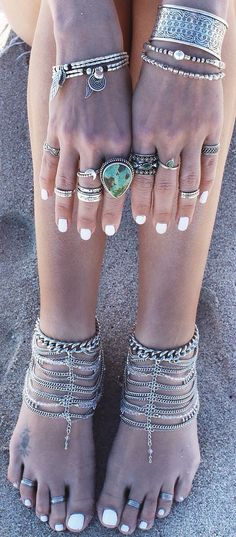 Boho Baubles: Silver and Turquoise Stacked Bracelets and Rings #johnnywas