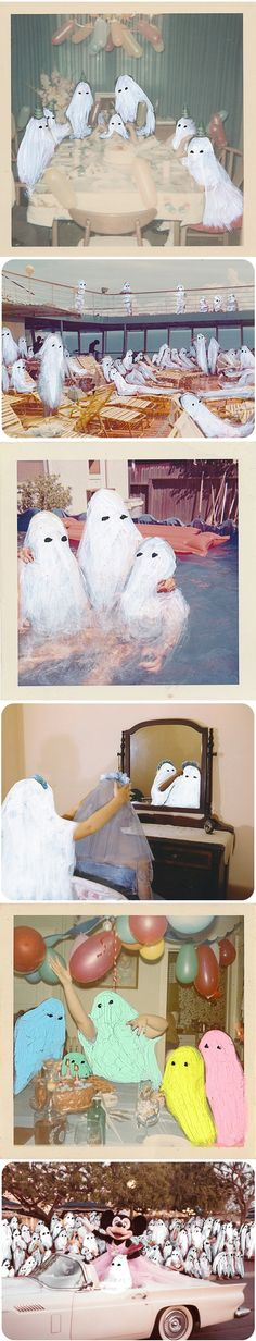 "Oh, these make me so happy… and kinda sad. Found photos starring gouachie ghosts by American artist Angela Deane. All of these pieces are from her ""Ghost Photographs"" series. Angela refers to them as ""ghosts of moments"" – special events gone by which may or may not be remembered fully and or correctly – which is why they make me happy… and kinda sad."