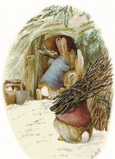 Peter Rabbit and Benjamin Bunny Doing Winter Chores - Beatrix Potter   Content in a Cottage