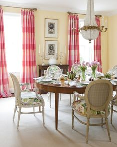 At Home Arkansas | Pink checked drapes in Dining Room