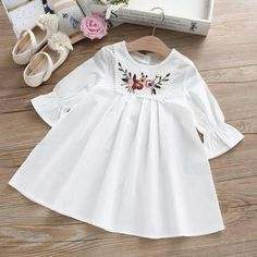 Cheap girls princess dress, Buy Quality dress girl directly from China dress girl fashion Suppliers: Summer Baby Girls Dress Embroidery Flower Flare Sleeve Korea Girl Dress Girls Princess Dress Fashion Frocks For Girls, Kids Frocks, Dresses Kids Girl, Cute Dresses, Kids Outfits, Dresses Dresses, Toddler Dress, Baby Dress, Baby Girl Fashion