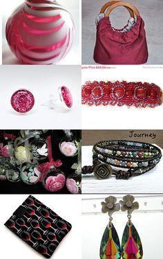 My purse is featured here: Feeling Festive, A TeamUnity Treasury Group 6 by Lynn Tolson on Etsy--Pinned with TreasuryPin.com #purse #pouch #bag #pouchbag #pink #pinkandblack #cutepurse #uniquepurse #handbag #handmade #handmadegifts #roundwoodenhandles #wooden #fabricpurse #beautifulpurse #women #womensfashion #womenswear #womensaccessories #gifts #giftideas #giftsforher #giftsforwomen #christmasgiftideas #giftideasforher
