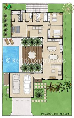 Oasis Replace the pool with a greenhouse and I'm sold. Sims House Plans, House Layout Plans, New House Plans, Dream House Plans, Small House Plans, House Layouts, House Floor Plans, U Shaped Houses, U Shaped House Plans