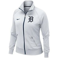 MLB Detroit Tigers Ladies White Jacket ~ Zipper