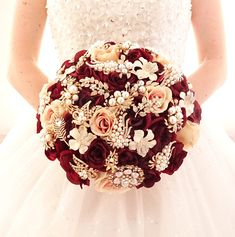 Excited to share the latest addition to my #etsy shop: Silk flower burgundy wine rose gold brooch bouquet , gold jeweled crystal alternative unique bouquet by Memory Wedding http://etsy.me/2DbORFL