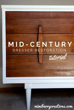 Mid Century Modern Dresser Makeover. DIY step by step tutorial including how to…