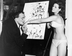 Salvador Dali Kisses The Hand Of Raquel Welch After Finishing His Famous…