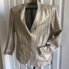 Soft Gold metallic/linen blazer never worn W/tags. Soft Gold metallic/linen blazer never worn W/tags size 10. Vishal is the brand Jackets & Coats Blazers