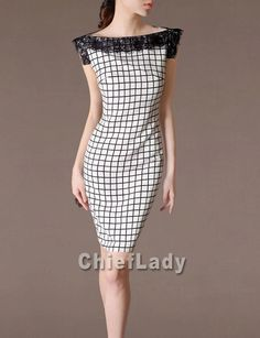 d0a5dfa1b64ff Fashion Outfits Suited Dress New Design Black Lace White Dress Dash Neck  Chequer Pattern Summer Dress