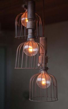 Steel cage lights. #lights #roomdesign