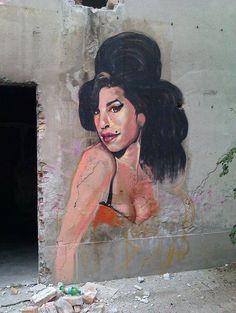 Amy Winehouse, memorialized in street art in Belgrade.