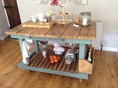 Shabby-Chic-kitchen-island-Rustic-Country-Cottage-Duck-Egg-Blue-And-Pine