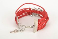 Red wide waxed cord bracelet by BrightestBijouterie on Etsy https://www.etsy.com/listing/226738094/red-wide-waxed-cord-bracelet