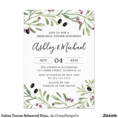Shop Italian Tuscan Bridal Shower Invitation created by CrissyDesignCo. Personalize it with photos & text or purchase as is! Rehearsal Dinner Invitations, Rehearsal Dinners, Bridal Shower Invitations, Party Invitations, Invites, Greek Wedding, Wedding Dinner, Wedding Rehearsal, Wedding Menu
