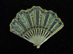 Vintage Carved Oxbone Hand Fan Beautiful with Original Box 1800's