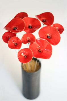 Red Flowers Red Poppy Ceramic Flower bouquet red by TzadSheni