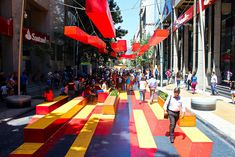 Paseo Bandera, A Busy City Street in Santiago Transformed into a Colorful Promenade by the Chilean Visual Artist Dasic Fernández Design D'espace Public, Landscape Architecture, Landscape Design, Kids Outdoor Playground, Urban D, Street Installation, Urban Intervention, Design Theory, Urban Furniture