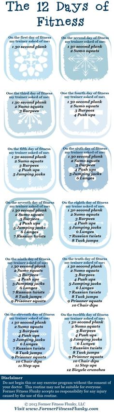 The 12 Days of Fitness Exercise Routine...LOVE these challenges for the month of December. Why wait until the New Year???