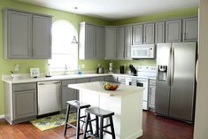 room*6: The BIG Kitchen Reveal  Before and After Gray Kitchen Cabinets