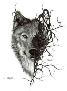Wolf by Mixielion on DeviantArt Tribal Wolf Tattoo, Wolf Tattoo Sleeve, Wolf Tattoo Design, Sleeve Tattoos, Tattoo Wolf, Wolf Tattoos Men, Animal Tattoos, Owl Tattoos, Fish Tattoos