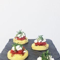 Flavor's Grilled Polenta Cake. Topped with Sun Dried Tomato Pesto ...