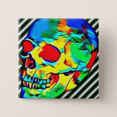 skull abstract colorful day of the dead art button - customizable diy