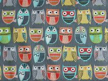 Grey Owls in Rows Walk in the Woods Woodland by chitterscraps Owl Fabric, Baby Fabric, Cotton Fabric, Quilt Kits, Quilt Blocks, Gray Owl, Owl Bird, Walk In The Woods, Painted Rocks