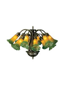 20 Inch W Amber/Green Pond Lily 12 Lt Chandelier. 20 Inch W Amber/Green Pond Lily 12 Lt ChandelierOne of the most popular Louis Comfort Tiffany styled lamps on the market today, recreating his famous Favrile design from the early 1900's. offers an attractive, delicate design featuring shades mouth blown of fine art glass. Lily shades are suspended from gracefully curved arms in this fixture finished by hand in Mahogany Bronze. Theme:  FLORAL NOUVEAU Product Family:  Amber/Green Pond...